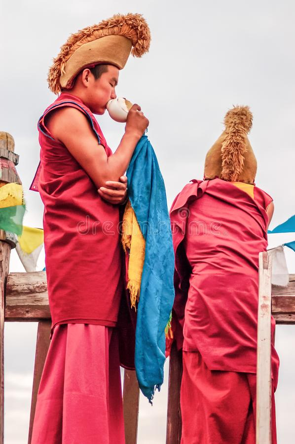 Monks at Erdene Zuu Monastery, Kharhorin, Central Mongolia stock images