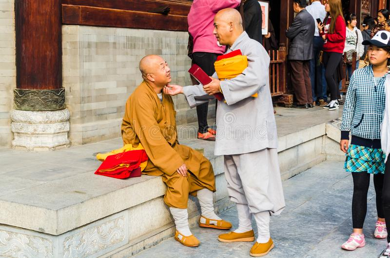 Monks at Giant Wild Goose Pagoda, Xi`an, Shaanxi Province, China. royalty free stock image
