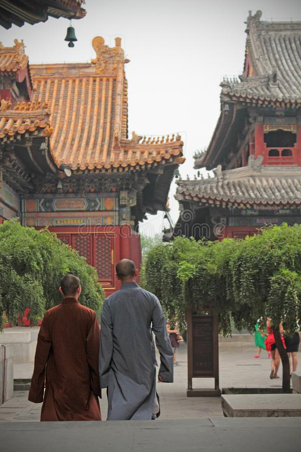 The Monks in Lama Temple. One of the most beautiful temple in Beijing is Lama Temple Yonghe Gong. The atmosphere breathed the old times of the past while the royalty free stock photos