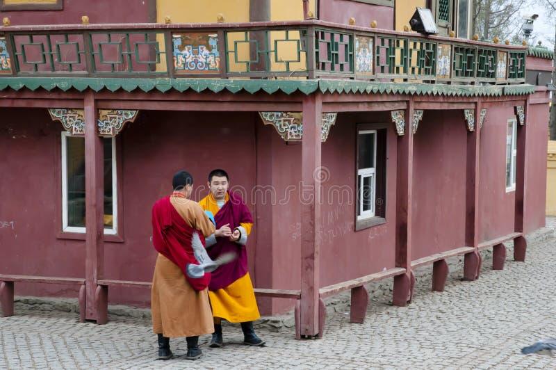 Monks - Mongolia royalty free stock image