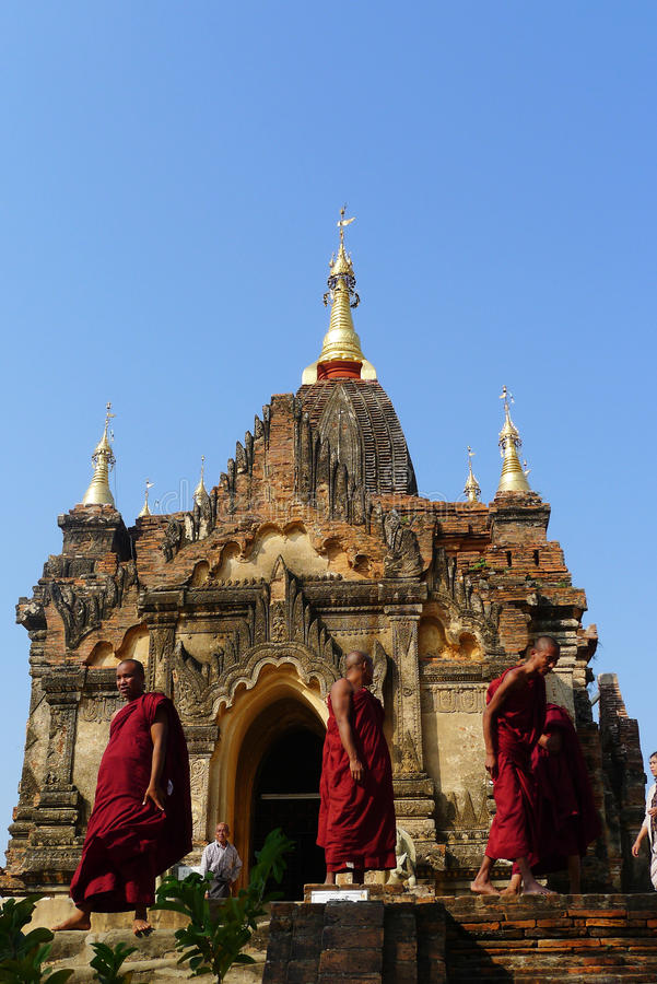 Monks in Myanmar. Monks in front of a local buddhist temple in Myanmar. Used for news and essays about the religion and local life in Myanmar royalty free stock photos