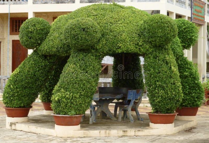 Topiary Gazebo in Cambodia stock photography