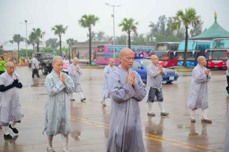 Monks in outdoor procession royalty free stock photos