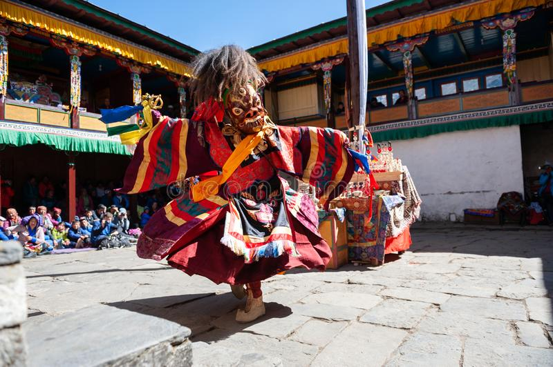 The monks perform religious masked buddhistic dance during the Mani Rimdu festival in Tengboche Monastery stock images