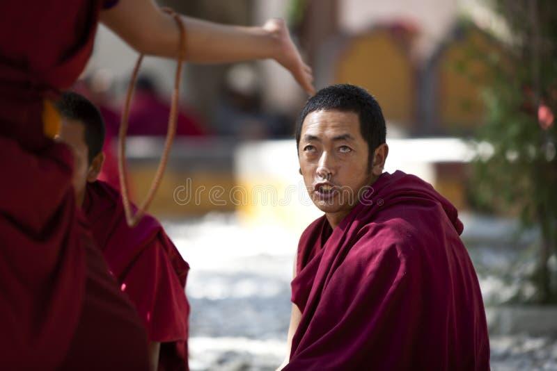 Monks som debatterar, Lhasa, Tibet arkivfoto