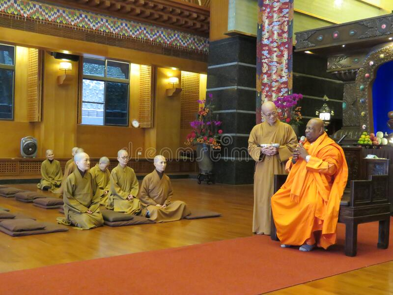Monks in temple royalty free stock image