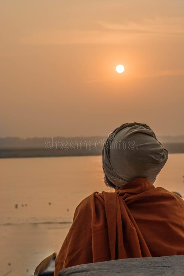 Monks. This was captured at Varanasi,Indian.Varanasi is known to be the oldest and holiest place of the Earth.Deep in his dreams,own world and elucified royalty free stock photo