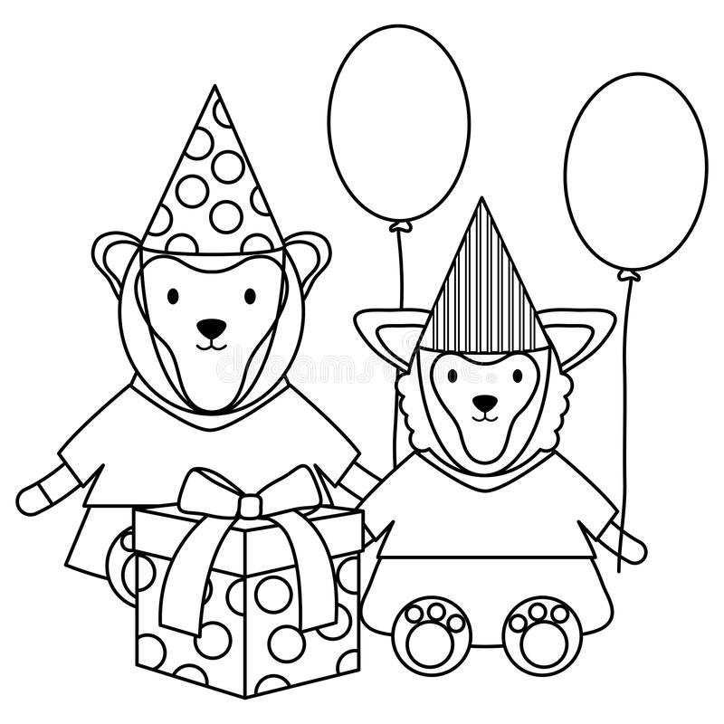 Monley and sheep with gift and balloons helium in birthday party royalty free illustration
