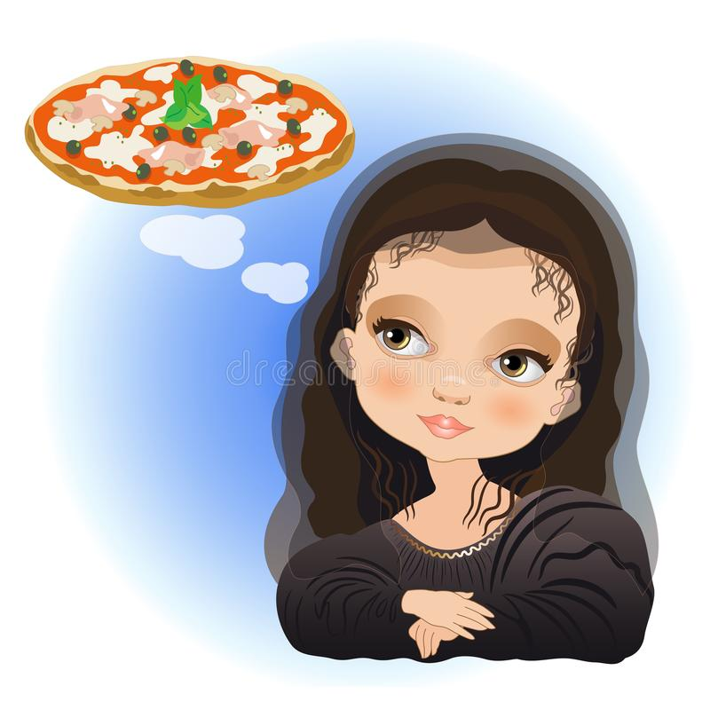 Monna Lisa is dreaming of a pizza. A girl dressed as monna lisa is dreaming of a pizza royalty free illustration