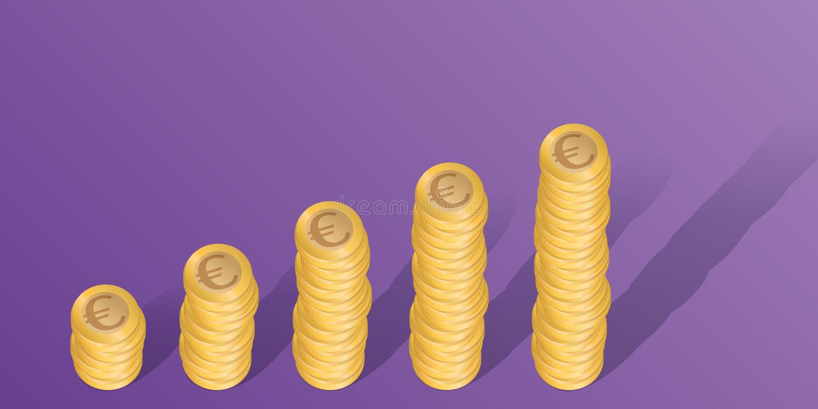 Business concept in Euros, with stacks of coins showing an increase in profits. royalty free illustration