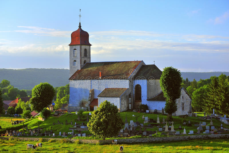 Monnet la ville church, Jura, France stock photo