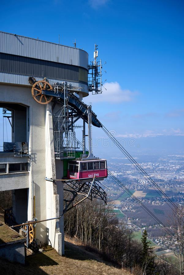 Vertical medium shot on cable car`s cabin in Salève mountain royalty free stock photo