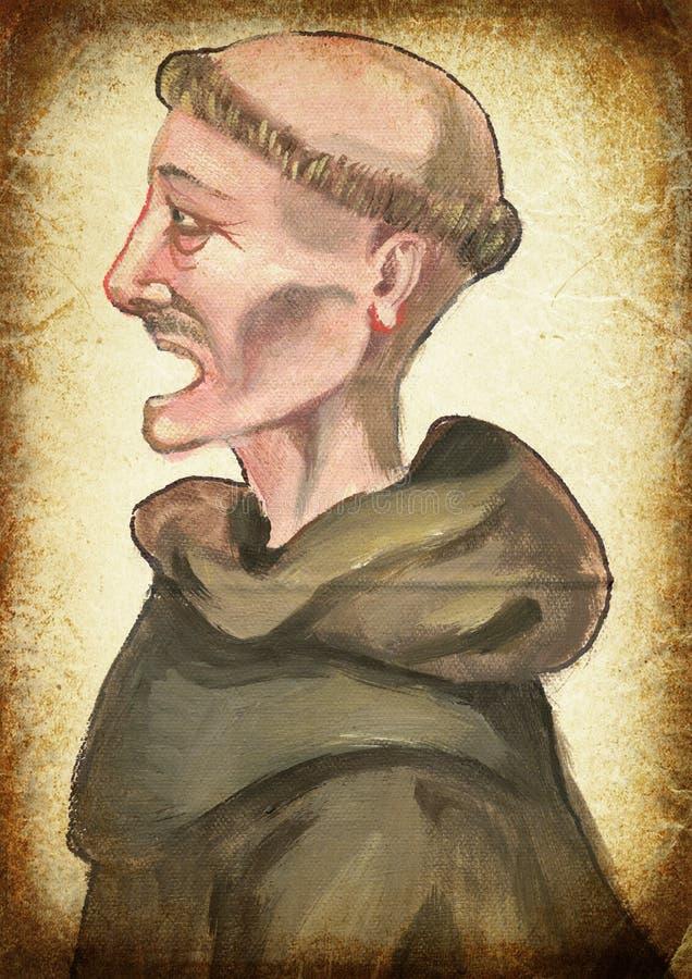 monnik Hand het schilderen Uitstekende verwerking stock afbeeldingen