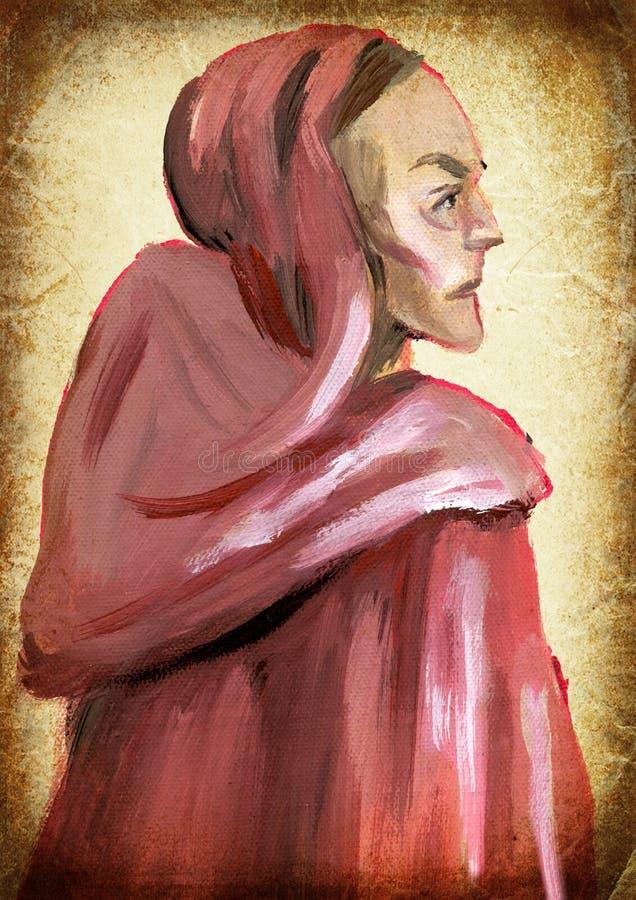 monnik Hand het schilderen Uitstekende verwerking royalty-vrije stock afbeelding