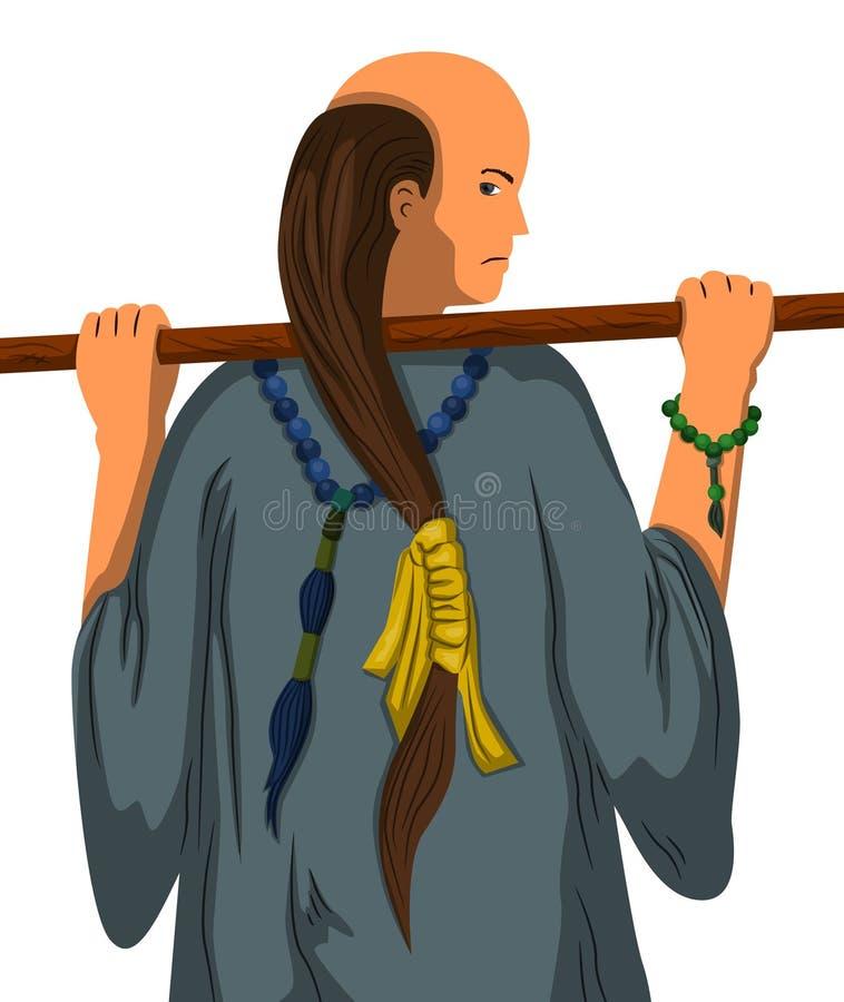 Monnik met stok royalty-vrije illustratie