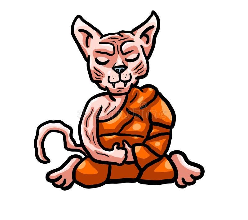 Monnik Sphynx Cat royalty-vrije illustratie