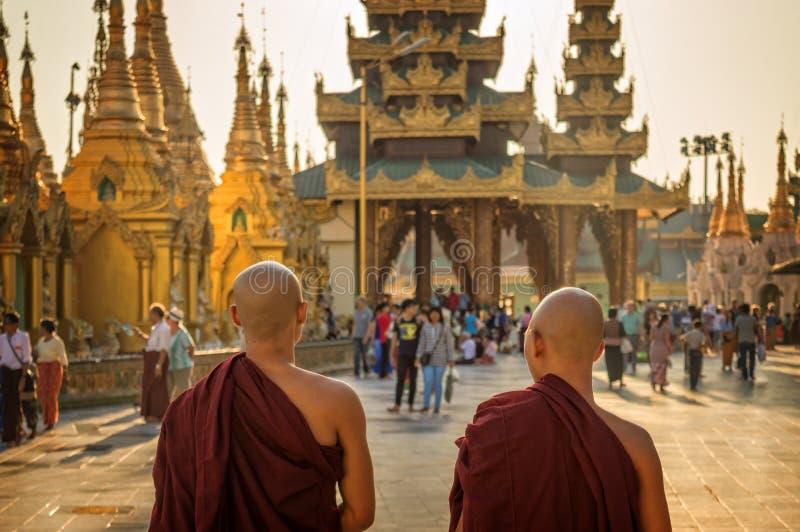 Monniken bij Shwedagon-Pagode in Yangon, Birma Myanmar stock afbeelding
