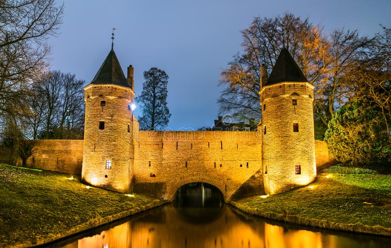 Monnikendam, a watergate in Amersfoort, the Netherlands. Night scene royalty free stock images