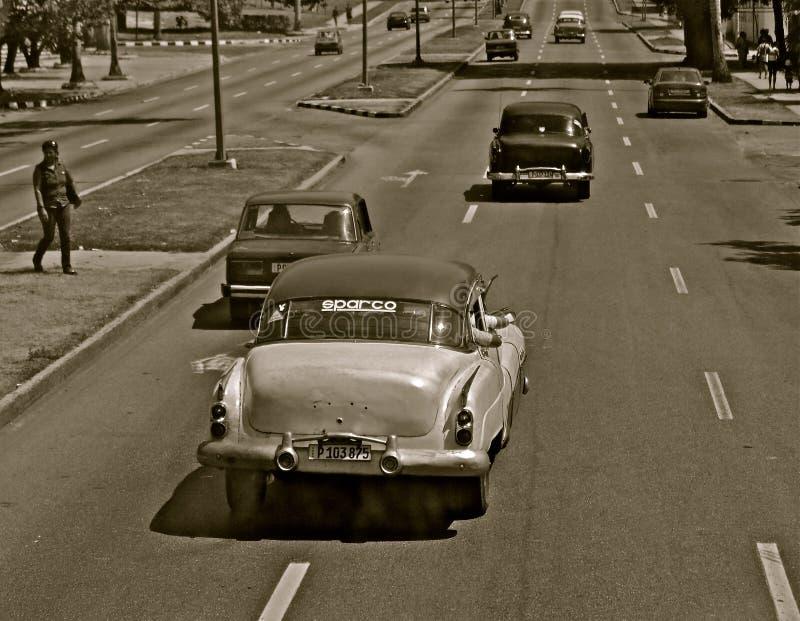 Mono automobili in una via a Avana fotografia stock libera da diritti