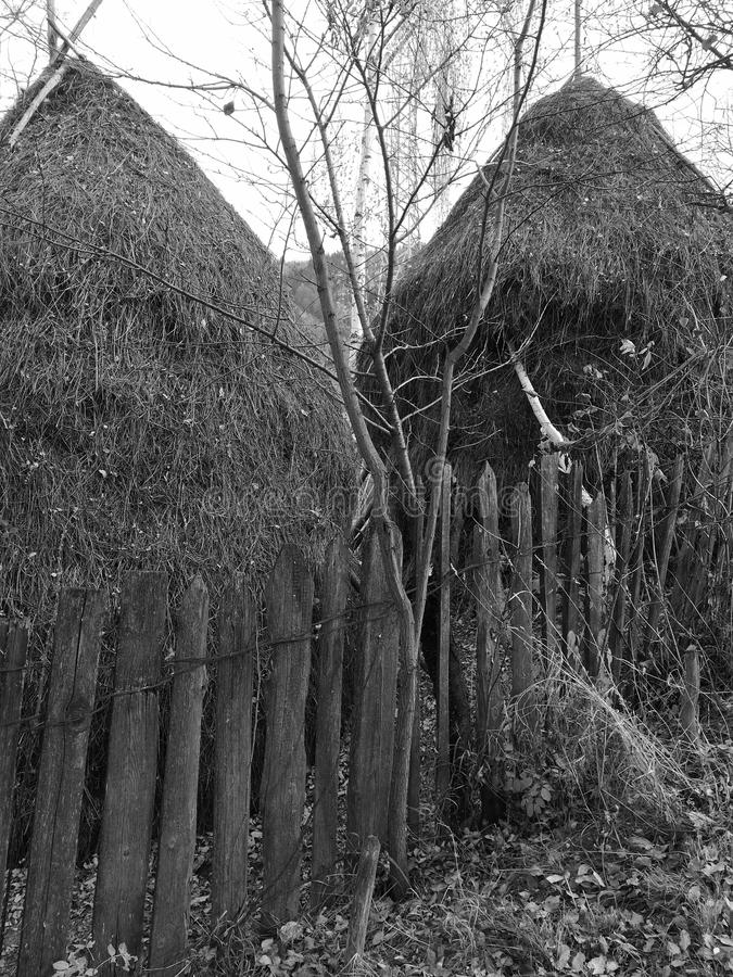 Two Haystacks In Mono royalty free stock images