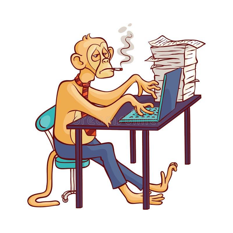 Mono cansado en pantalones del negocio y lazo con el cigarrillo que se sienta en la tabla de la oficina y que trabaja en el orden stock de ilustración