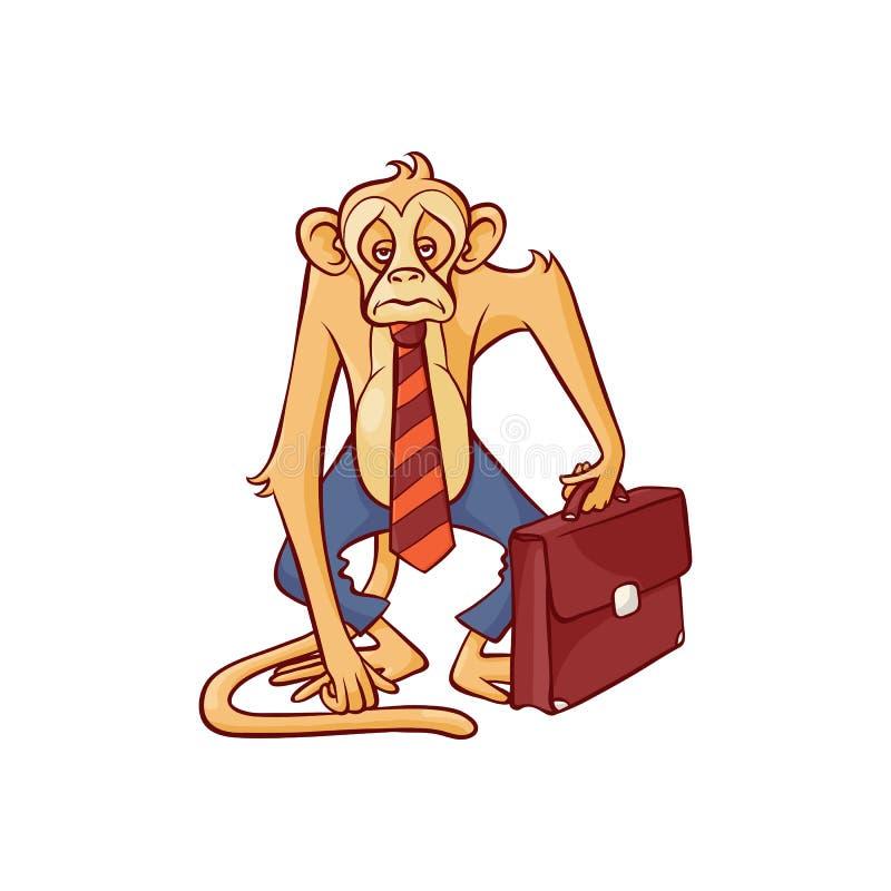 Mono cansado y agotado en la situación de los pantalones y del lazo del negocio con la cartera de cuero marrón y la mirada adelan stock de ilustración