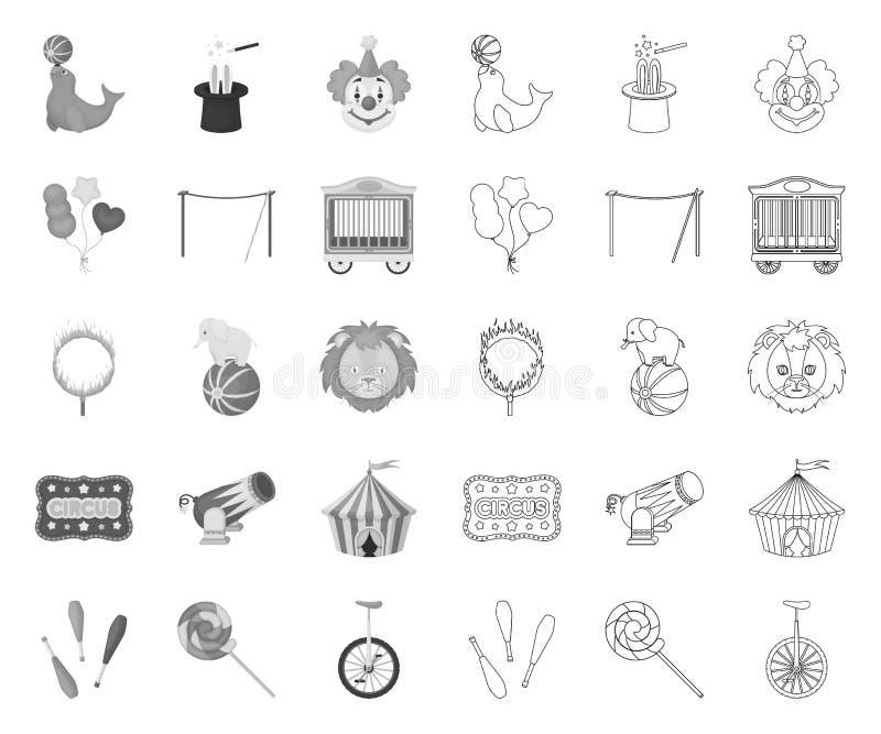 Mono cirkus och attribut, översiktssymboler i den fastställda samlingen för design Illustration f?r reng?ringsduk f?r materiel f? royaltyfri illustrationer