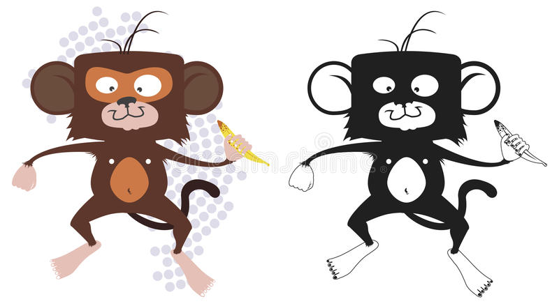 Mono con el plátano fotografía de archivo