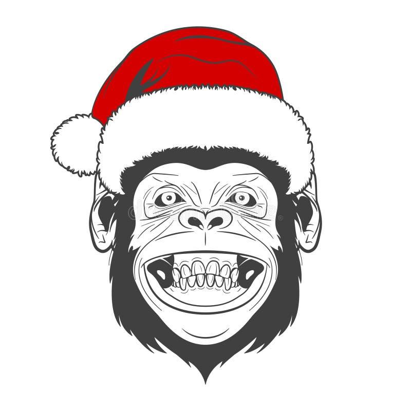 Mono con el sombrero de santa ilustración del vector