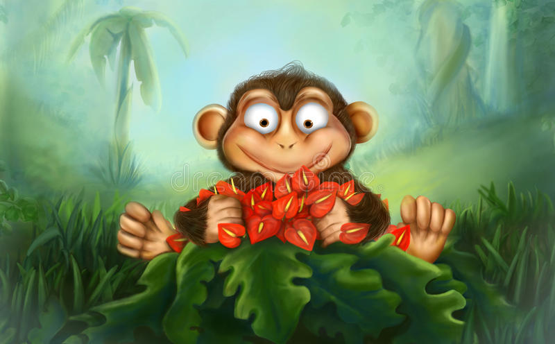 Mono con las flores stock de ilustración