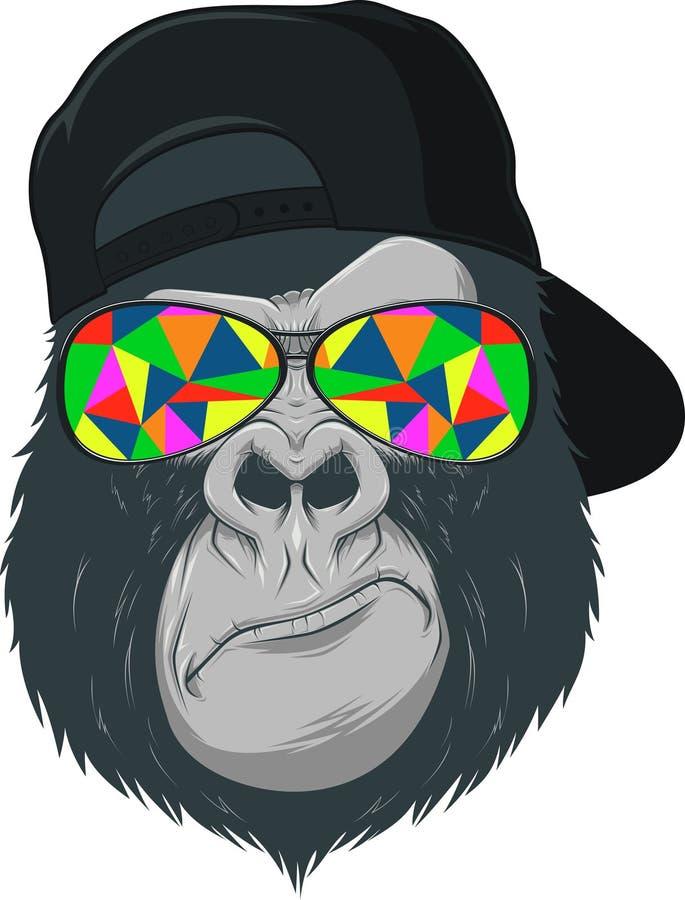 Mono con los vidrios stock de ilustración