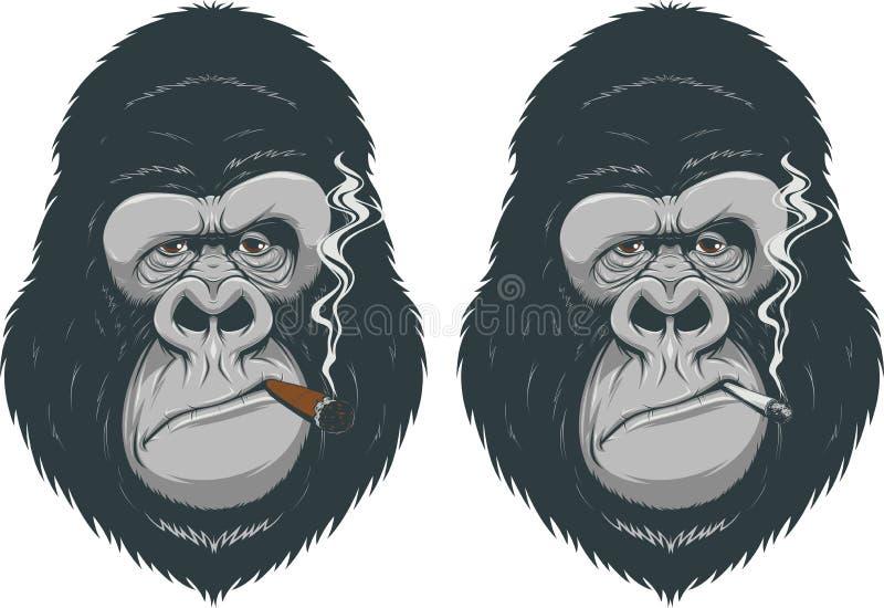 Mono con un cigarrillo stock de ilustración