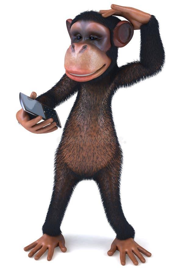 Mono con un teléfono móvil ilustración del vector