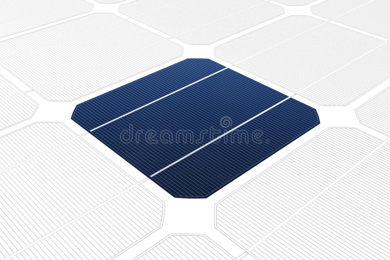 Mono-crystalline solar cell against a drawing royalty free illustration