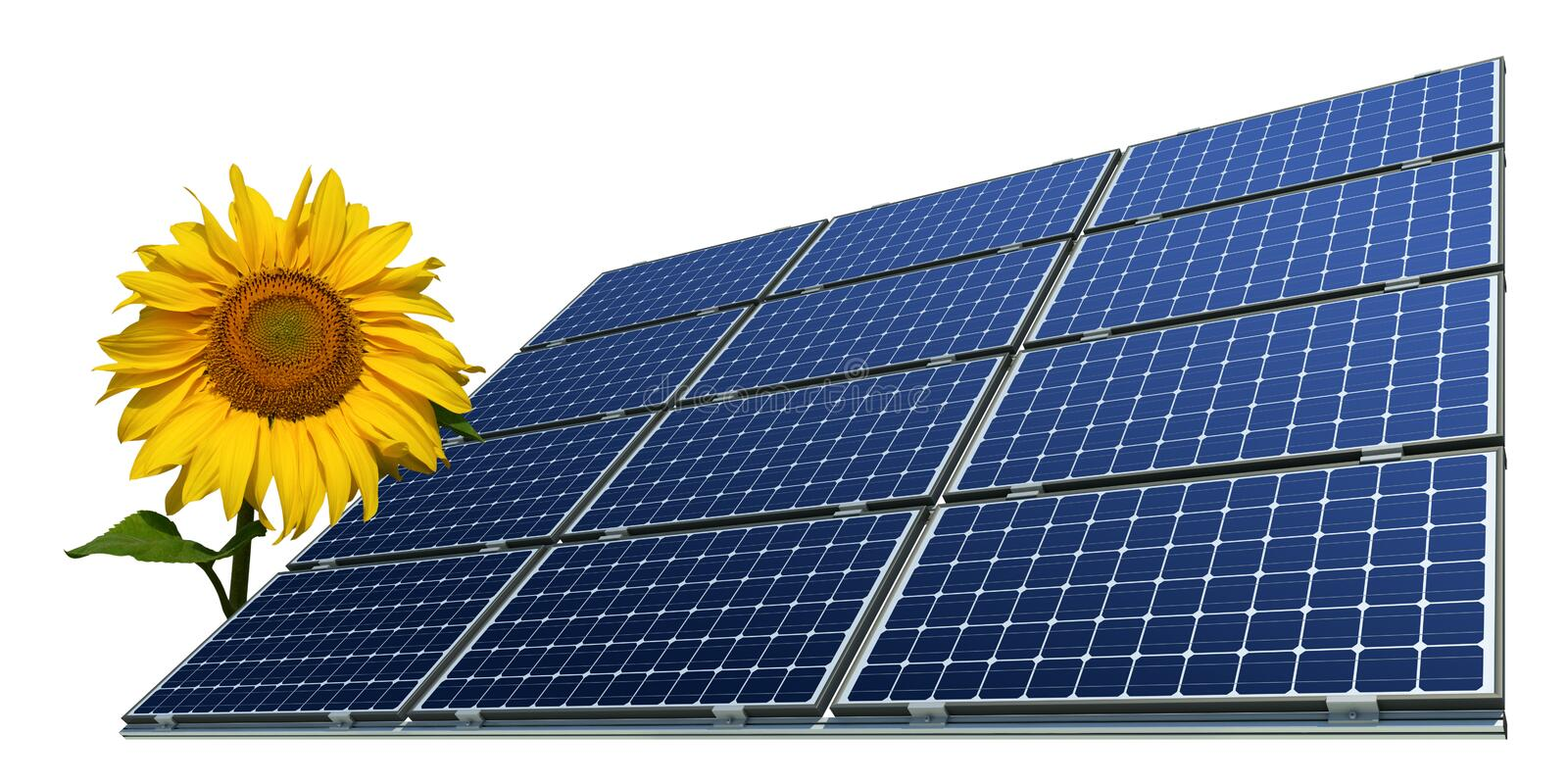 Download Mono-crystalline Solar Panels And Sunflower Stock Image - Image: 18391187