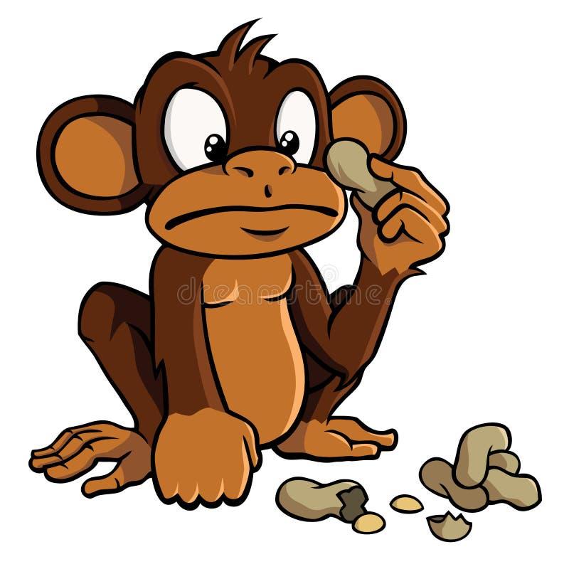 Mono de la historieta con los cacahuetes stock de ilustración