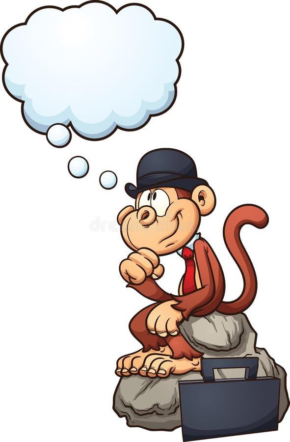 Mono de pensamiento ilustración del vector