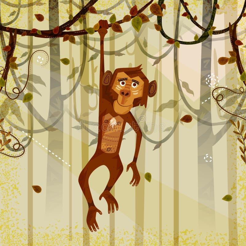 Mono del animal salvaje en fondo del bosque de la selva stock de ilustración