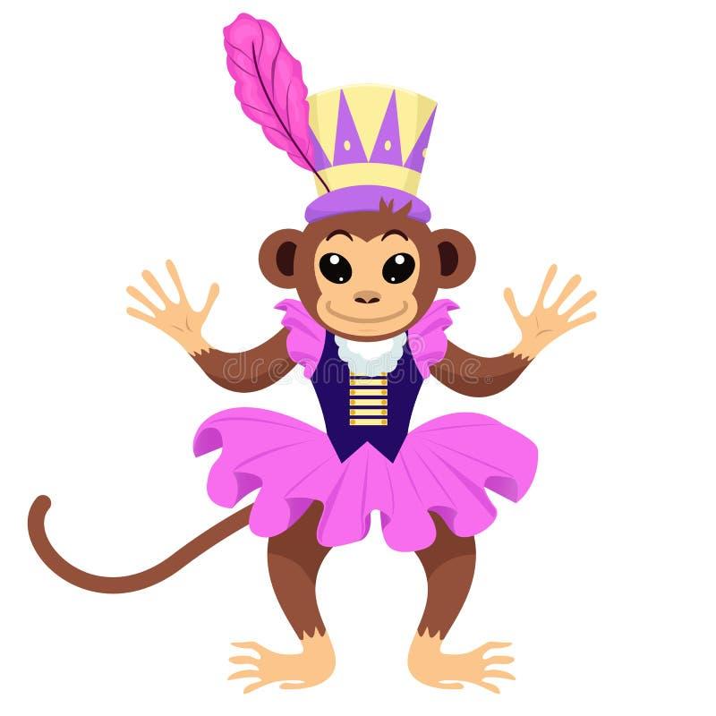 Mono del circo en vestido y sombrero imágenes de archivo libres de regalías
