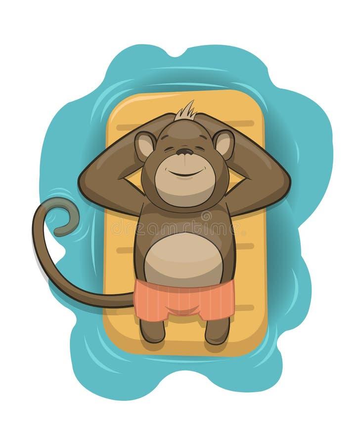 Mono del vector que se relaja en el colchón de aire libre illustration