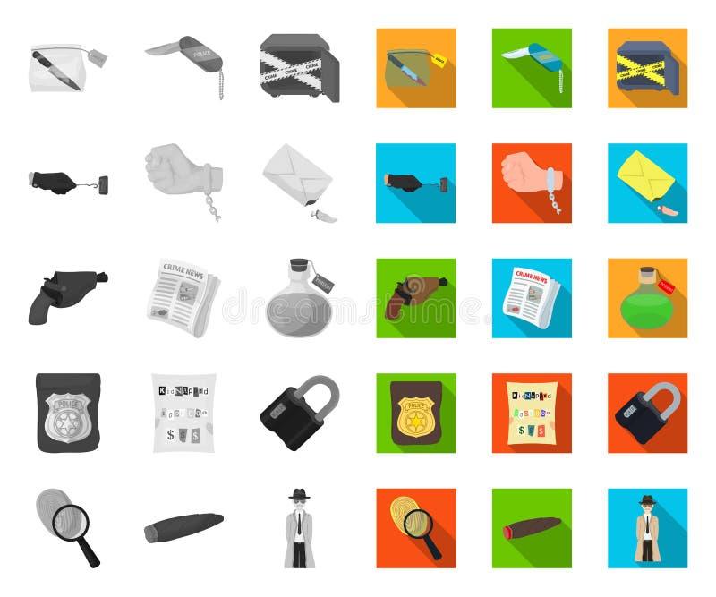 Mono detektiv- byrå, plana symboler i den fastställda samlingen för design Reng?ringsduk f?r materiel f?r brott- och utredningvek stock illustrationer