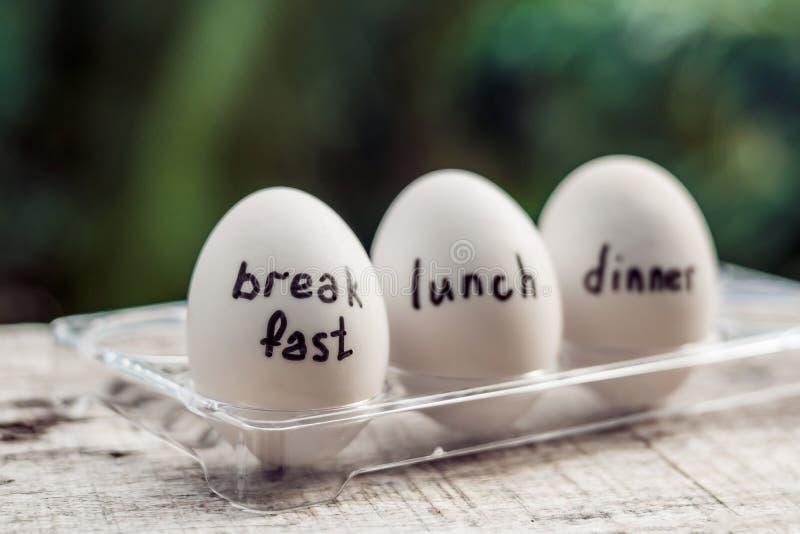 Mono-dieta, dieta do ovo, jantar do almoço do café da manhã fotografia de stock