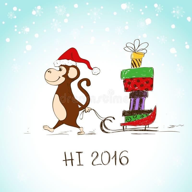 Mono divertido con el trineo lleno de presentes ilustración del vector