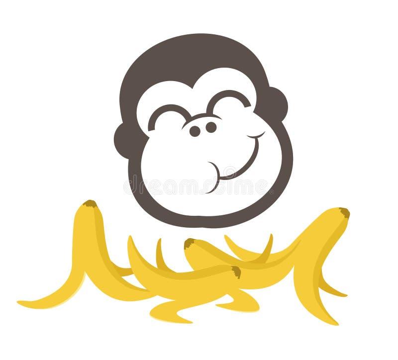 Mono divertido que come plátanos stock de ilustración