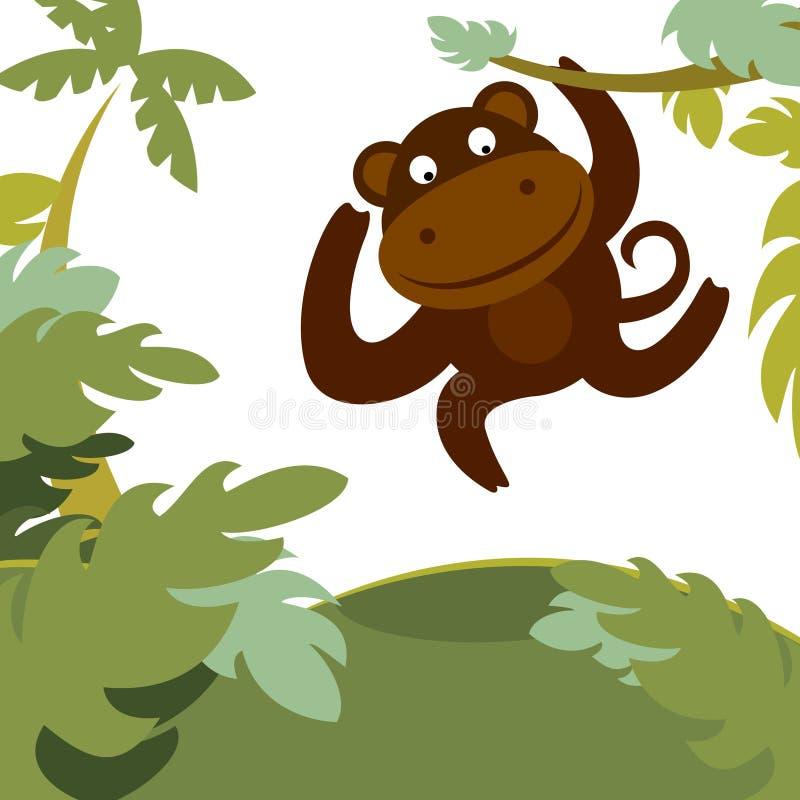 Mono en bosque stock de ilustración