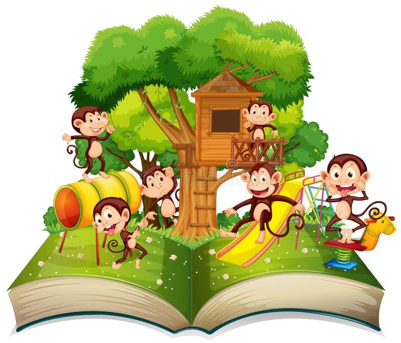 Mono en el libro abierto del parque ilustración del vector
