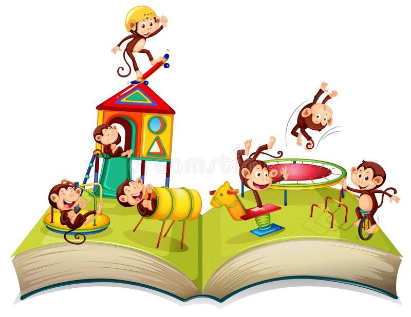Mono en el libro abierto del patio libre illustration