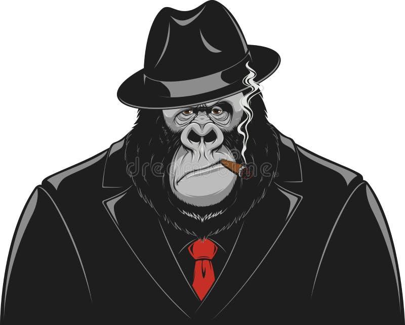 Mono en un gángster del traje stock de ilustración