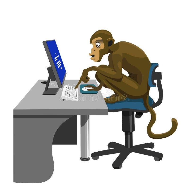 Mono estúpido con el ordenador stock de ilustración