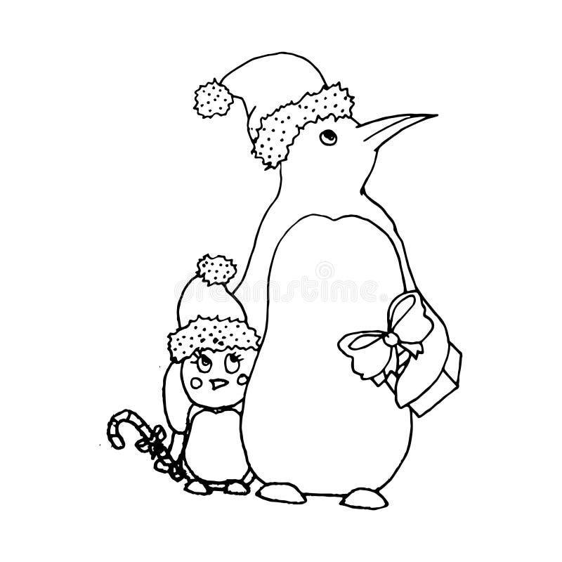 Mono färgillustration för svart vektor med pingvinfamiljen för glad jul och lyckligt nytt år royaltyfri illustrationer